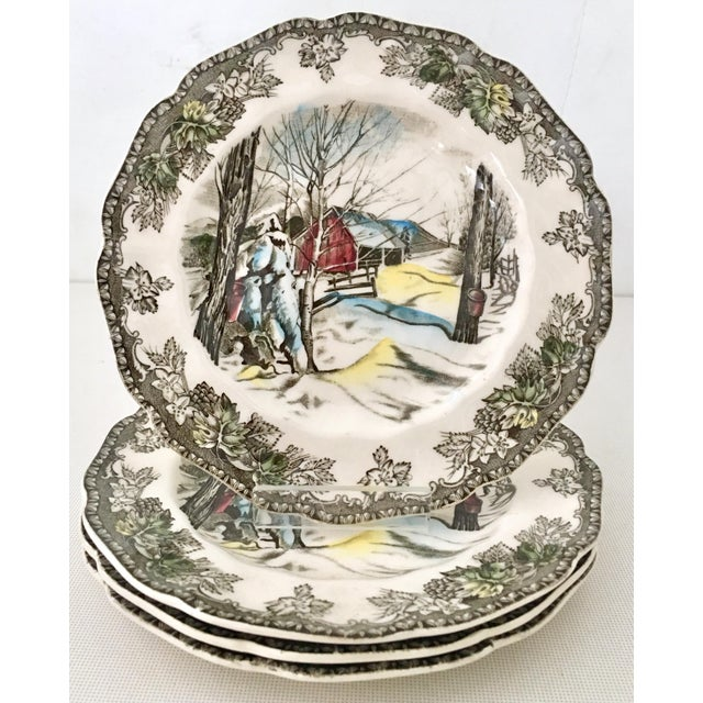 """English Traditional 1950's Johnson Brothers English """"Friendly Village"""" Dinnerware - Set of 17 For Sale - Image 3 of 13"""