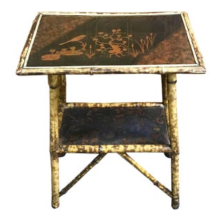 19th Century French Chinoiserie Lacquered Bamboo Two-Tier Table
