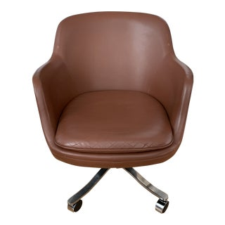 Leather and Stainless Steel Tilt and Swivel Desk Chair by Nicos Zographos For Sale