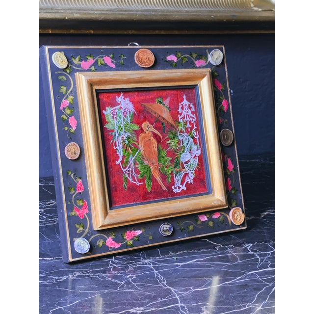 19th Century Grand Tour Style Hand Painted Panel With Antique Glazed Italian Cameos by Vramyan For Sale - Image 5 of 7