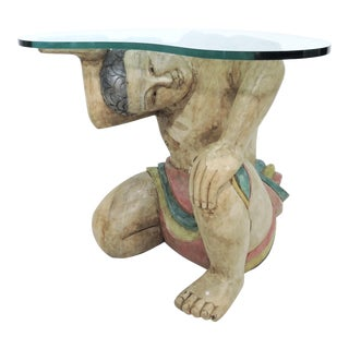 Vintage Kneeling Polynesian Male Wood Coffee or Side Table, Kidney Shaped Glass Top For Sale