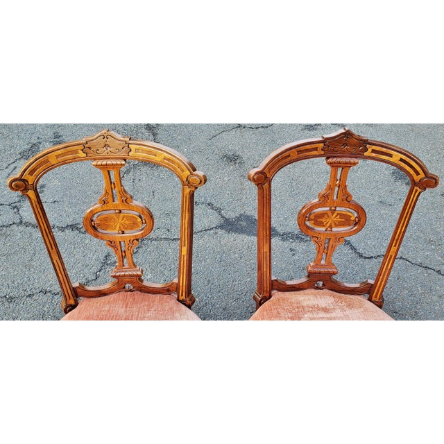 19th Century American Upholstered Renaissance Revival Walnut Chairs-a Pair For Sale - Image 4 of 10