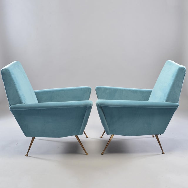 Mid-Century Italian Arm Chairs With New Sky Blue Upholstery - a Pair For Sale In Detroit - Image 6 of 11