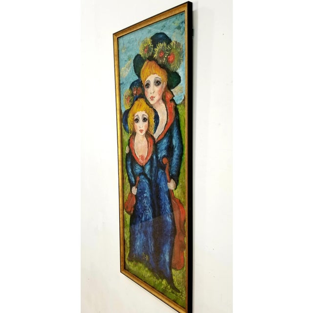 Mid-Century Modern 1960s Mid Century Original Oil Painting on Canvas For Sale - Image 3 of 12