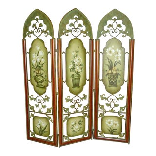 Painted Metal Room Divider/ Floor Screen or Queen Size Headboard For Sale