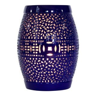 Cobalt Blue Garden Stool Lamp For Sale