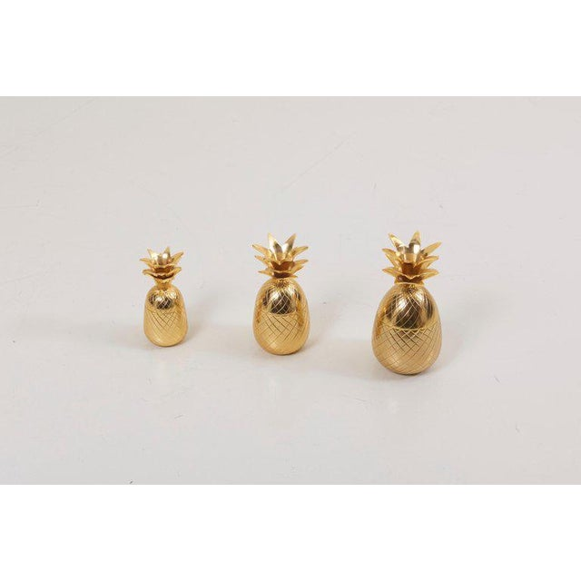 Wonderful set of 3 brass pineapple ice bucket, trinket or candy boxes.