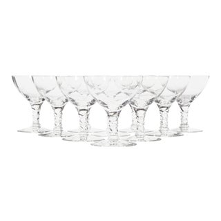 1960s Twist Stems Glass Coupes, Set of 10 For Sale
