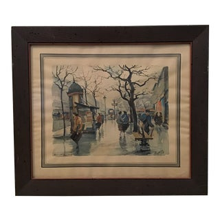 Vintage Paris Boulevard Bonne Nouvelle Watercolor Painting For Sale