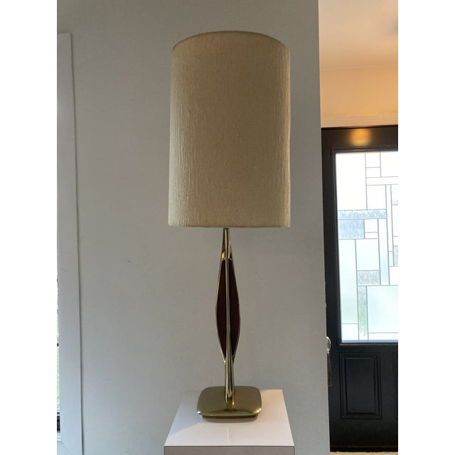 1960s 1960s Laurel Brass and Walnut Table Lamp For Sale - Image 5 of 5