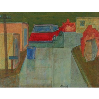 """Dave Fox """"Brea Canyon Ii"""" Contemporary Cubist Acrylic Painting With Red Car, 2008 2008 For Sale"""