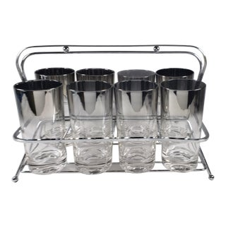 MCM Dorothy Thorpe Silver Ombre Highball Glasses Set of 8 in Carrier For Sale