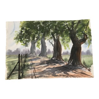1960s Americana Watercolor Painting, Large Tree Lined Road For Sale