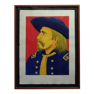 David Bradley - Portrait of Custer - Important Lithograph For Sale