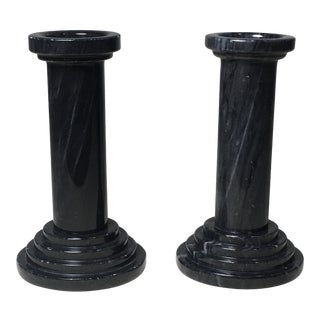 Art Deco Style Marble Candlesticks - a Pair For Sale