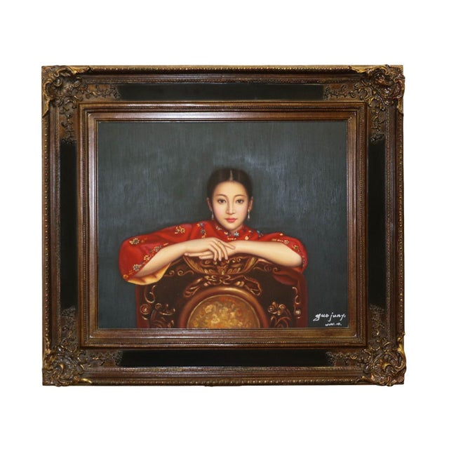 Very finely painted portrait of a woman. Replica of an oil painting by Chen Yifei (陈飞; 1946 - 2005), a renowned...
