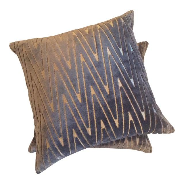 Chevron Throw Pillows - A Pair - Image 1 of 6