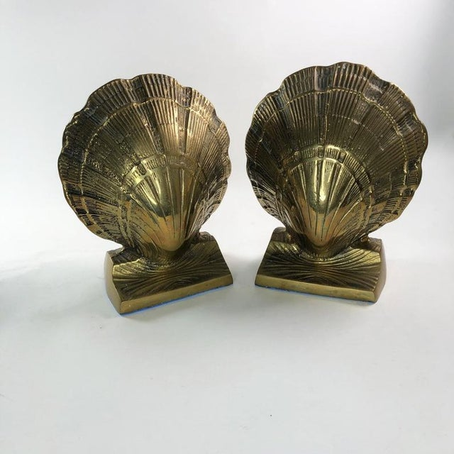 Metal Vintage Mid-Century Brass Clamshell Bookends - a Pair For Sale - Image 7 of 7