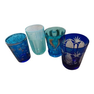 Late 19th C. Blue Glassware Collection - Set of 4 For Sale
