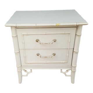 Mid 20th Century Thomasville Allegro Fretwork Faux Bamboo Nightstand For Sale