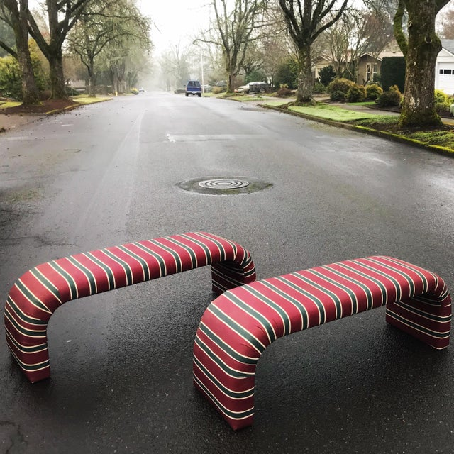 1980s Striped Upholstered Waterfall Benches -A Pair - Image 5 of 8
