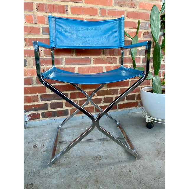 Vintage Blue and Chrome Milo Baughman Director's Chair For Sale - Image 10 of 11
