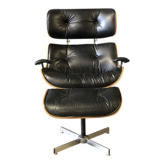 Black Leather Eames Style Lounge Chair and Ottoman For Sale