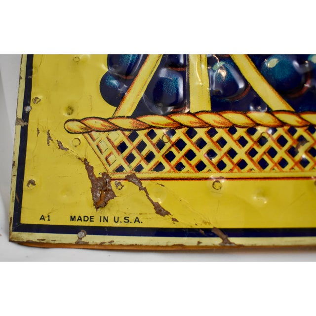 Quilted Tin Advertising Sign, Early 20th-C. Grape Ola Soda For Sale In Philadelphia - Image 6 of 11