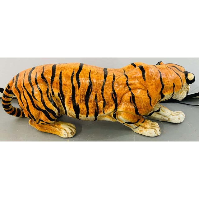 1970s Midcentury Italian Terracotta Tiger Statue or Sculpture For Sale - Image 5 of 12