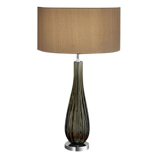 Chrome and Smokey Blown Glass Lamp Wiith Shade For Sale