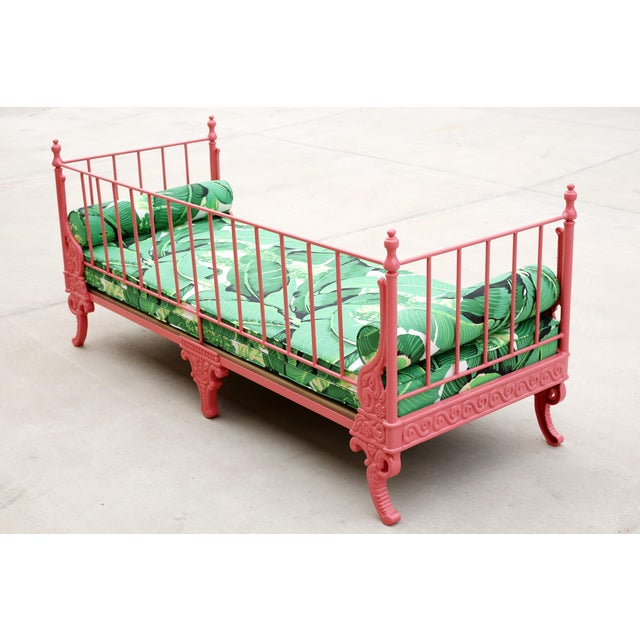 1940s Blush Antique French Iron Daybed - Professionally Restored W/ Dorothy Draper Fabric For Sale - Image 5 of 12