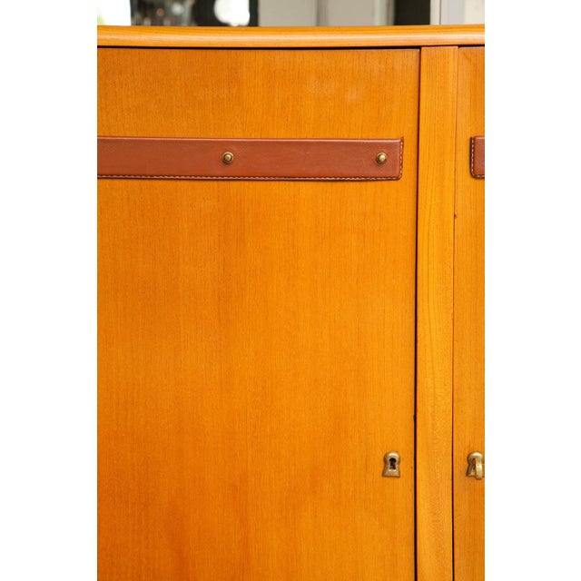 1950s Large Cherrywood and Leather Cabinet by Jacques Adnet For Sale - Image 12 of 13