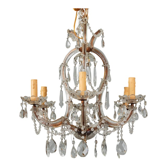 Heavily Beaded Small Six Light Maria Theresa Chandelier For Sale