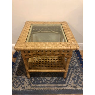Vintage Boho Chic Woven Wicker and Bentwood Rattan Glass Side Table Preview