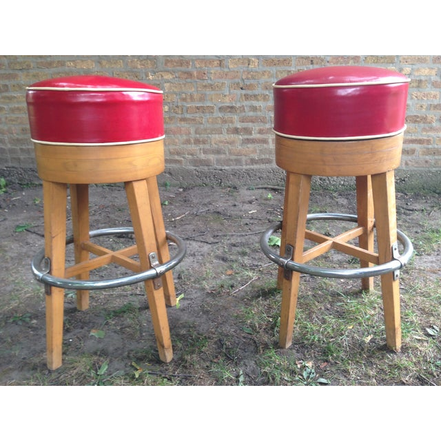 Vintage Thonet-Style Red Vinyl Bar Stools - A Pair - Image 2 of 4