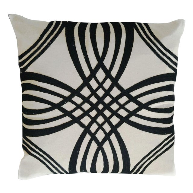 Decorative White & Black Throw Pillow Cover For Sale