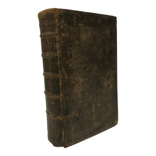 C.1744 Antique English Leather Bound Book For Sale