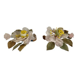 Hollywood Regency Carved Chinese Semi Precous Stone Flower Candle Holders a Pair For Sale