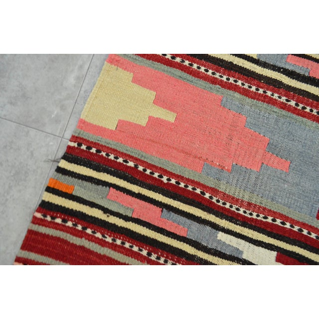 Antique Turkish Kilim Hand Woven Wool Large Runner Rug - 6′5″ × 13′8″ - Image 10 of 10