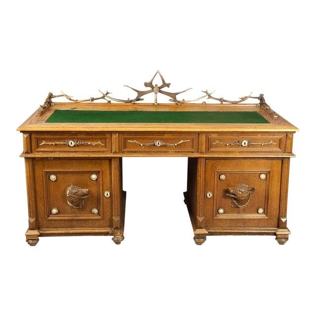 Large Oak Wood Desk With Antler Decorations By Rudolf Brix 1900 For Sale