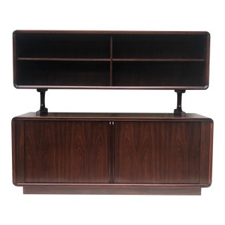 Mid-Century Rosewood Tambour Sideboard With Topper For Sale