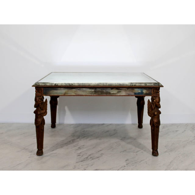 Art Deco Antique Art Deco Carved Wood and Mirrored Glass Coffee Occasional Table For Sale - Image 3 of 9