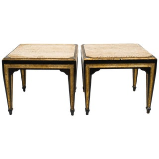 Pair of Travertine Top 1950s Side Tables For Sale