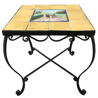 1930s Spanish Tile-Top Wrought Iron Side Table