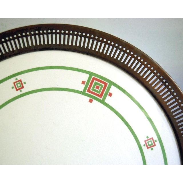 Art Deco Antique Art Deco Porcelain & Copper Tray For Sale - Image 3 of 7