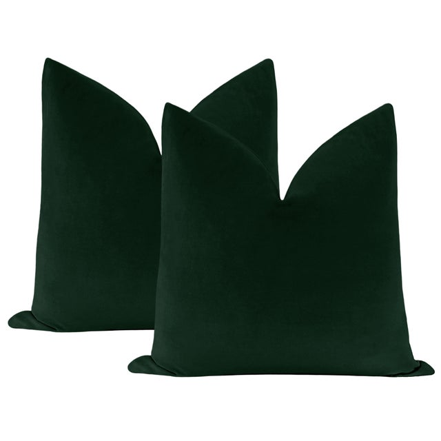 """Not Yet Made - Made To Order 22"""" Emerald Velvet Pillows - a Pair For Sale - Image 5 of 5"""