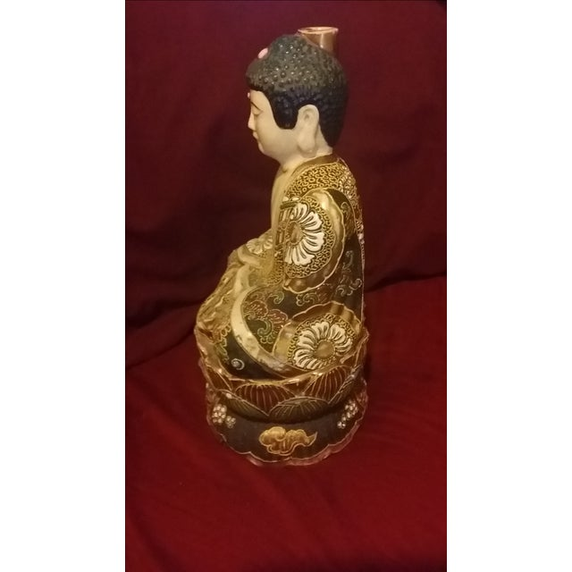 Vintage Hand Painted Gold Gilt Porcelain Buddha - Image 4 of 8