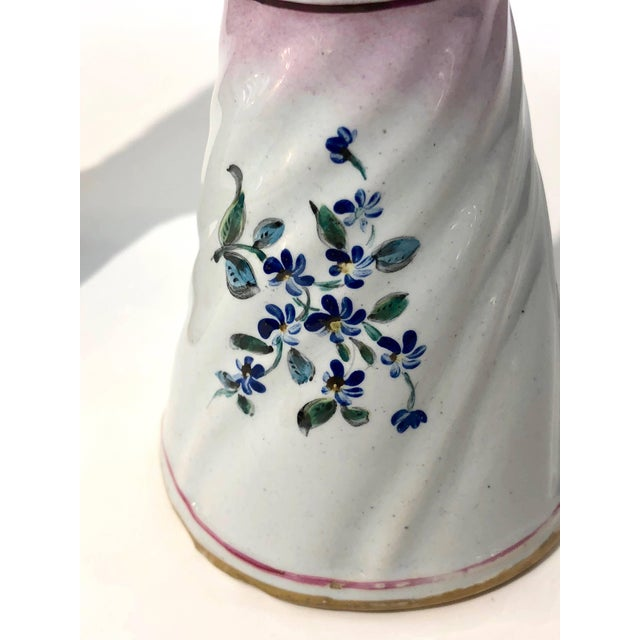 Ceramic 1870s St. Clement French Faience Majolica White Pink Flower Vases - a Pair For Sale - Image 7 of 13