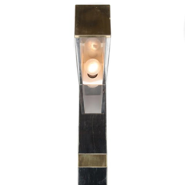 "1970's vintage PAUL EVANS BRASS AND CHROME ""CITYSCAPE"" FLOOR LAMP For Sale - Image 10 of 10"