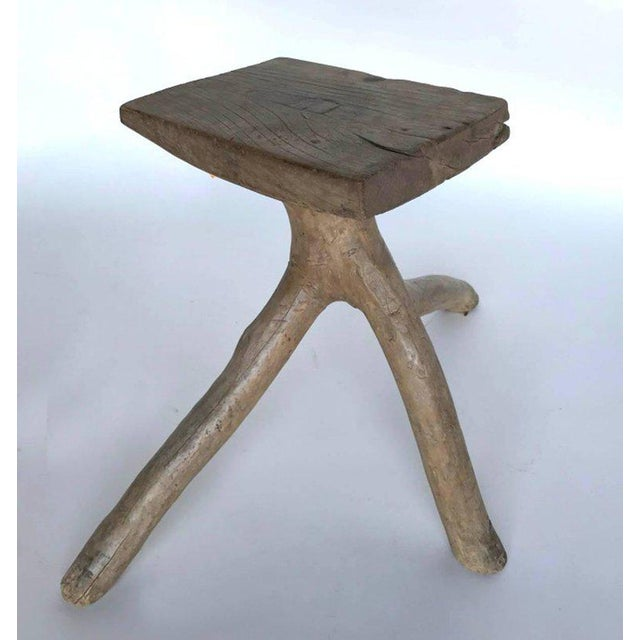 Rustic Vintage Three-Legged Elmwood Stool For Sale - Image 10 of 10